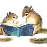 シマリスのイラスト 絵本 親子のしまりす リスの絵  Chipmunk illust Picture book cut