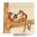シマリスのイラスト ウッドプリント 間伐材に印刷 木製印刷