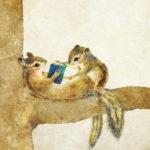 シマリスと本のイラスト リスの親子のイラスト エゾシマリス  Chipmunk illust