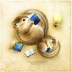 シマリスの絵 リスの親子のイラスト エゾシマリス  Chipmunk illust