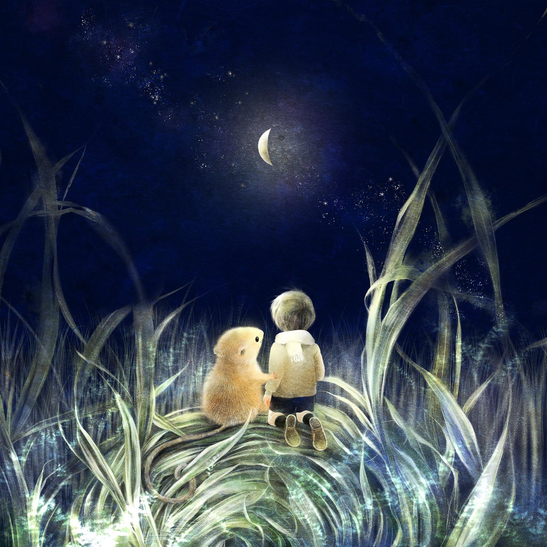カヤネズミのイラスト 月の夜の絵 日本の野ネズミ