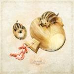 イノシシの絵 うりぼうのイラスト 打ち出の小槌 年賀状イラスト お正月