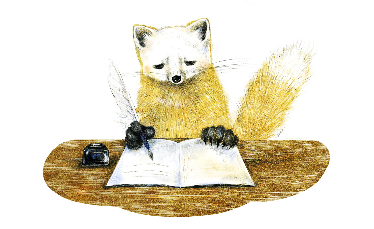 テンの絵 ニホンテン・ホンドテンのイラスト 動物イラスト 書いているイラスト ノートとペン marten illust