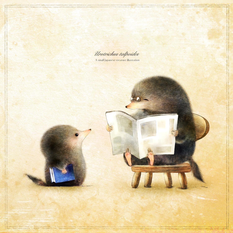 ヒミズの親子 新聞を読むお父さんのイラスト shrew-mole