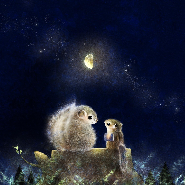 エゾモモンガとエゾシマリス 月夜のイラスト