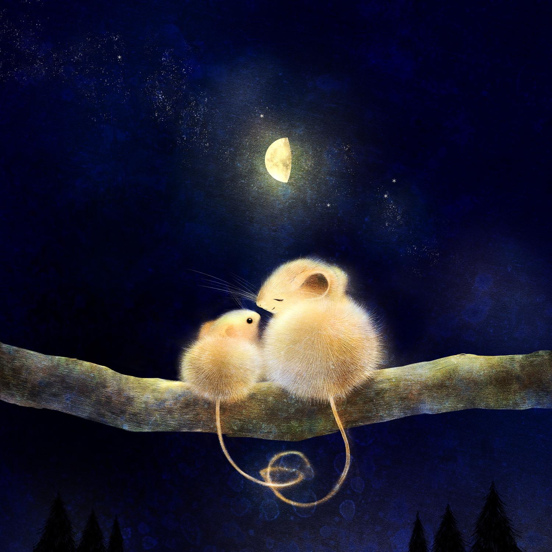 ヒメネズミの親子のラスト 月夜の森の絵