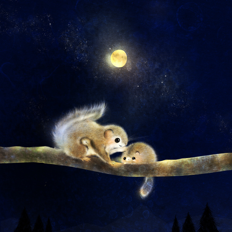 ニホンモモンガとヤマネのイラスト 月夜の絵