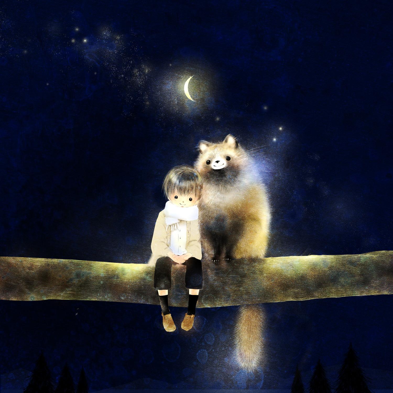 ホンドタヌキの絵 月夜のイラスト